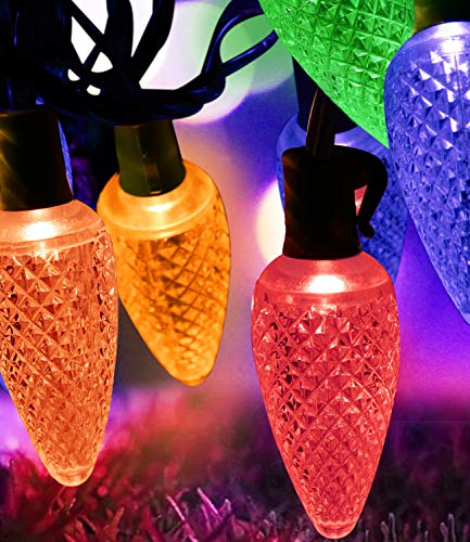 MOWASS C9 Christmas String Lights,Colored String Light Bulb,16.6ft LED Roofline Light String,Waterproof Plug in String Light for Bedroom Patio Garden Party Wedding Patio Christmas Xmas Tree Decoration