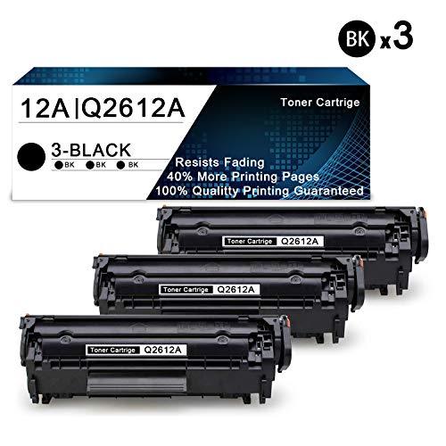 3 Pack Black 12A | Q2612A Compatible Toner Cartridge Replacement for HP Laserjet 1020 1022 1022n 1010 1015 1018 3052 MFP 3055 MFP 3050 MFP 3030 MFP 3020 MFP 3380 MFP M1319f Printers Toner Cartridge.