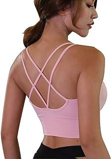 Lianshp Strappy Sports Bra Padded Yoga Bras Longline Sports Bra Pink XXL
