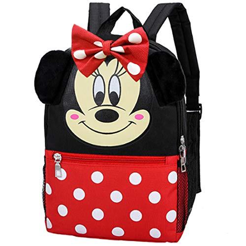 Minnie Rucksack -ZSWQ Minnie Plüsch Schleife Rucksack geeignet für Kinderrucksack und für Schule oder Reise, viel Stauraum