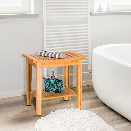 "Giantex Bamboo Shower Bench Seat with Storage Shelf, Shower Spa Chair Seat Bench Organizer Stool for Indoor or Outdoor (18.3""x12""x19"")"