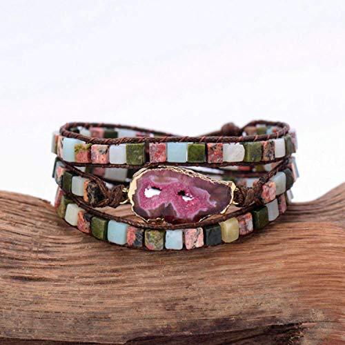 Armband Armreif,Schmuck Geschenk,Druzy Bracelet Unique Mixed Square Natural Stones Gilded Druzy Triple Wrap Bracelets Handmade Boho Weaving Bracelet