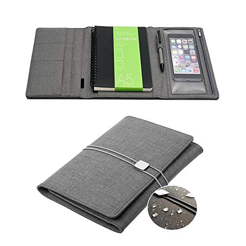 Waterproof Cloth Filo Cover for Rocketbook,Multi Notebook Cover for A5 Size with Pen Holder/Cards Pockets/Phone Holder, Suit for Notebook Like Everlast or Wave (Gray)