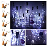 Decorman 10 Pack Solar Powered Wine Bottle Lights, 10 LED Waterproof Copper Cork Shaped Lights for Wedding/Christmas/Outdoor/Holiday/Garden/Patio/Yard/Pathway Decor (Cool White)