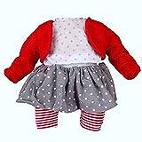 Schildkröt Puppen Kleidung 4-TLG. Bekleidungsset Rock Leggings Bluse Strickjacke rot 32 cm Puppen...