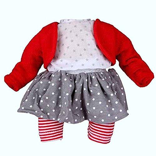 Schildkröt Puppen Kleidung 4-TLG. Bekleidungsset Rock Leggings Bluse Strickjacke rot 32 cm Puppen 32518