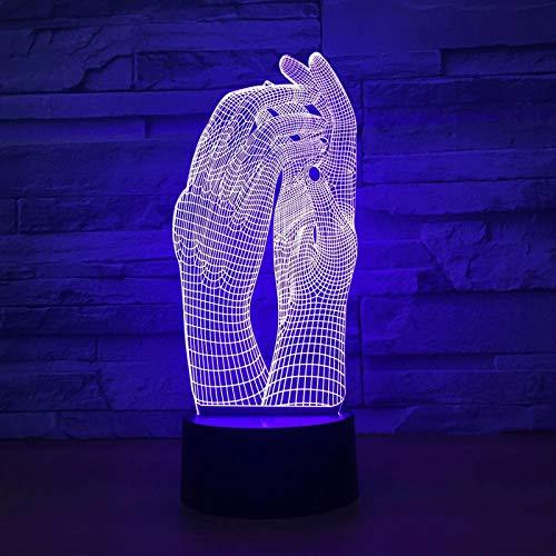 ZBHW Amor Dos Manos Hermosa lámpara 3D luz luz luz USB táctil lámpara lámpara decoración Fiesta Fiesta de iluminación Interior lámpara