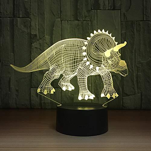 Jiushixw 3D-nachtlampje, acryl, met afstandsbediening, tafellamp, kleurwisseling, accu, tafellamp, chroom, spinosaurusdinosa, bureaulamp