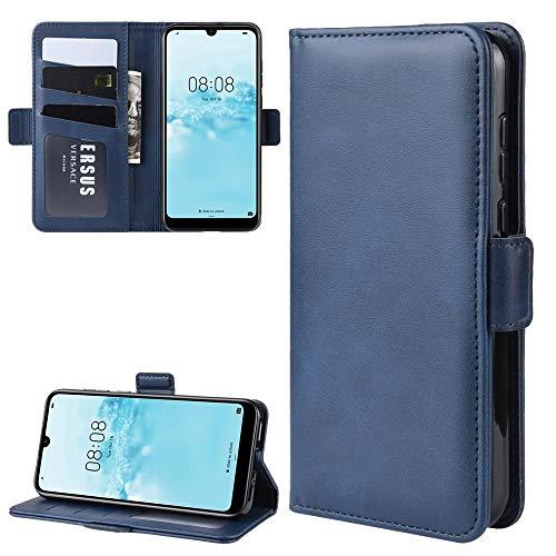 Zhangl Fundas Huawei For Huawei Y5 2019 Doble Hebilla Caballo Loco de Negocios del teléfono móvil de la pistolera con función Soporte de la Tarjeta Monedero Fundas Huawei (Color : Blue)
