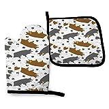 Rcdeey Trotting Border Collies y huellas de patas, color blanco, guantes de cocina impermeables y resistentes al calor para cocinar y asar