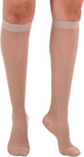 Absolute Support Women's Compression Stockings - Sheer Knee High, 15-20 mmHg Medium Graduated Support -Medium, Nude