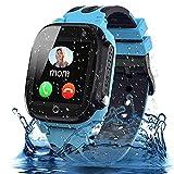 Smooce Smartwatch Niños,Impermeable Reloj Inteligente Niño - LBS Localizador Reloj del Teléfono, Kids Smartwatch Phone con Call SOS Cámara para Niño Niña Cumpleaños (Azul)