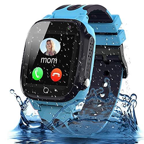 Smooce Smartwatch Kinder Telefon, wasserdichte Smartwatch für Kinder mit LBS Tracker SOS Voice Chat und Kameraspiel für 3-12 Jahre alte Kinder Geburtstag (Blue)