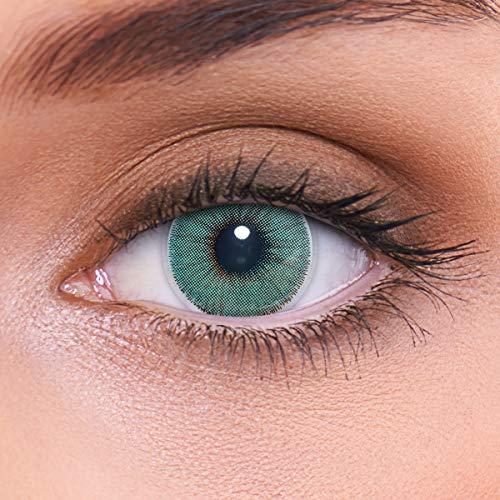 LENZOTICA Sehr stark natürlich deckende blaue Kontaktlinsen farbig NATURAL TURQUOISE + Behälter von LENZOTICA I 1 Paar (2 Stück) I DIA 14.00 I ohne Stärke I 0.00 Dioptrien