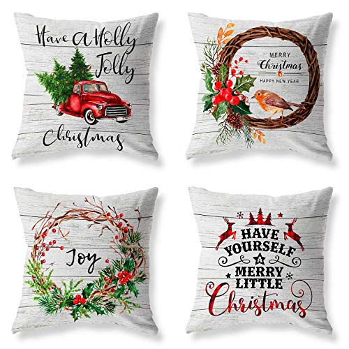LuckyCow Pack of 4 Christmas Decorative Throw Pillow Covers 18x18 Inch Wood Grain Christmas Tree Elk Flower Car Holiday Pillowcases Outdoor Cushion Cover Home Decor Sofa Car Bedroom Xmas Pillow Cover