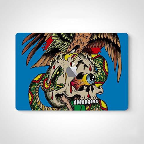 Etiqueta engomada Linda de la Piel del Ordenador portátil Una ilustración Loca de un cráneo con una Etiqueta engomada de la Serpiente Superficie de la Piel Ordenador portátil para Macbook Air 13'Pro