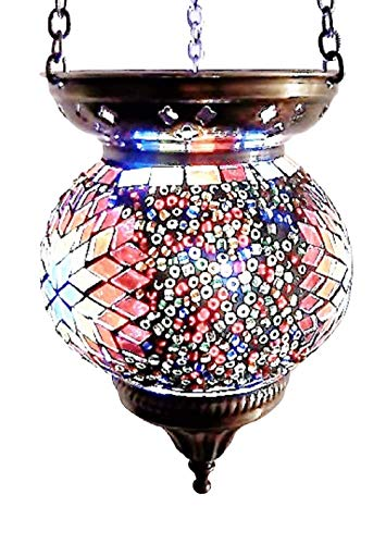 Moroccan Turkish Mosaic Hanging Lamp Hanging Candle Holder Hanging Candle Holder Table Desk Lamp Lamps Bronze Effect Handmade Unique Crushed Glass Tiffany Style Turkish Moroccan Lamp Multi Flower