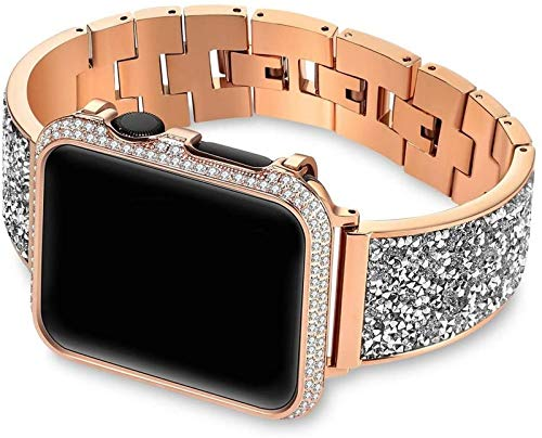 JJDSN Correas de Reloj Caja de Diamantes + Correa Banda 44 mm 40 mm 38 mm 42 mm Cubierta IWatch Series 5 4 3 2 1 Pulsera de Acero Inoxidable para Mujer