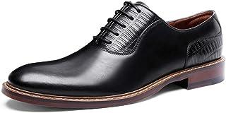 Kirabon Zapatos de Vestir para Hombres Zapatos de Cuero de Vaca de la Parte Superior británica de Cabeza Redonda de Negocios, Zapatos Individuales y Corbata Informal (Color : Negro, Size : 43)