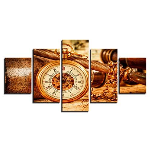 AQNY Print modulaire poster linnen wand 5 board oude rekenmachine muur fotolijst kunst woonkamer decoratie ingelijst