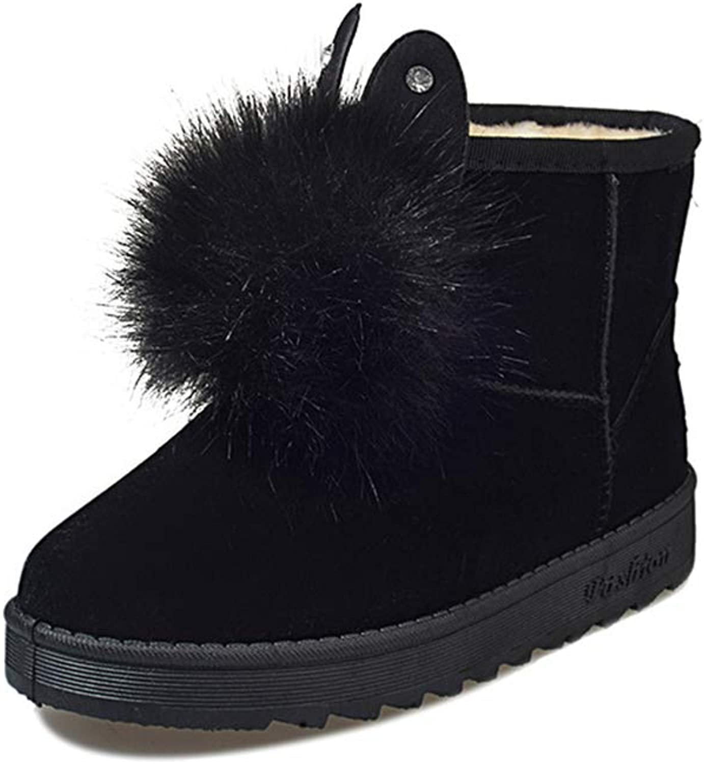 Super color Women's Suede Warm Slip on Comfortable Snow Boots with Pompoms for Elegant and Beautiful