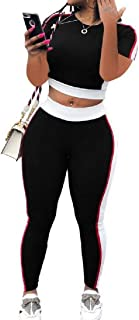 FSSE Women's Casual Regular Fit Short Sleeve Color Blocked 2 Pieces Set Tracksuits Outfit