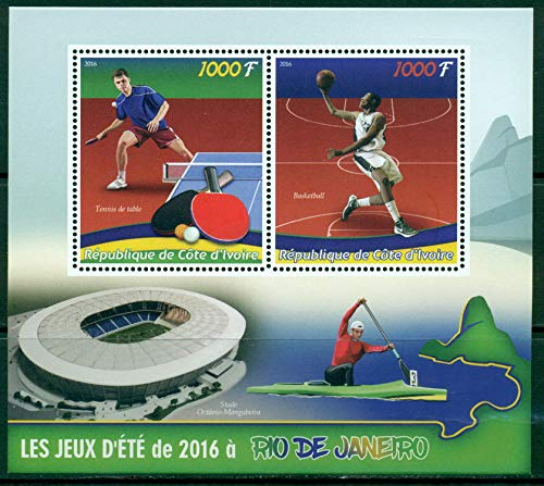 Ivory Coast 2016 miniature sheet Rio Olympics 2016 2 values sport table tennis basketball conoeing stadium MNH JandRStamps