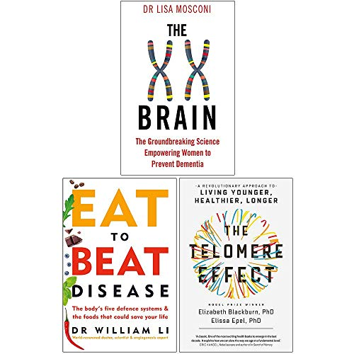 The XX Brain, Eat to Beat Disease, The Telomere Effect 3 Books Collection Set