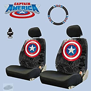 Yupbizauto 6 Pieces Marvel Comic Captain America Car Seat Covers and Steering Wheel Cover Set with Air Freshener