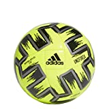 adidas Uniforia Club Euro 2020 Machine-Stitched Soccer Ball, Solar Yellow/Iron Metallic/Black 4