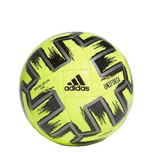 adidas Uniforia Club Euro 2020 Machine-Stitched Soccer Ball, Solar Yellow/Iron Metallic/Black 4