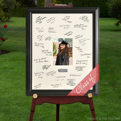Personalized Gift - Celebrations Graduation Signature Guest Book Picture Photo/Photograph Frame - With Engraved Brushed Silver Plate