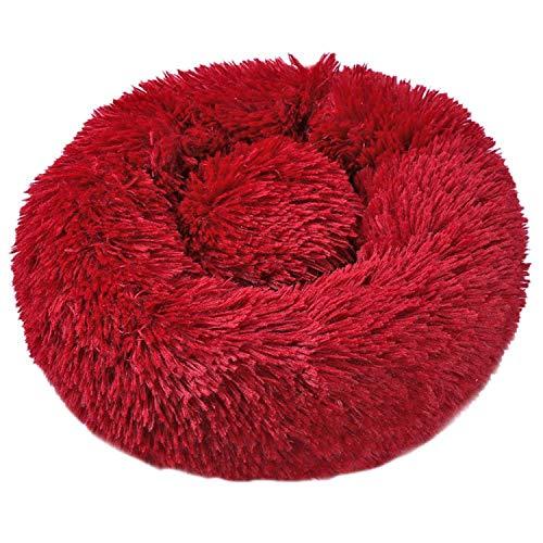 FairyLi ronde hond bed wasbaar lange pluche hond kennel kat huis super zacht katoen matten bank voor hond warm mand huisdier bed, 60X60cm, Wijn Rood