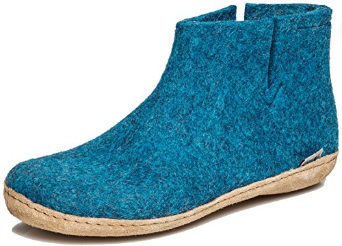 glerups dk G Ankle Shoe - Erwachsene Filz-Stiefel, Damen,Herren Huettenschuhe,Filz-Schuhe,Filz-Pantoffel,Pantoletten,Puschen Blau, 42 EU / 8 UK
