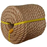 Twisted Manila Rope Jute Rope (1 in x 100 ft) Natural Thick Hemp Rope for Nautical, Landscaping, Railings, Hammock, Home Decorating