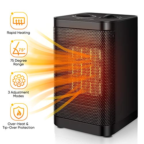 Space Heater Indoor Electric Heater - Portable Ceramic Personal Quiet Small Heater For Office, Home, Bedroom, Kids Room with Thermostat Tip-over & Overheat Auto-Off Heater Portable Space