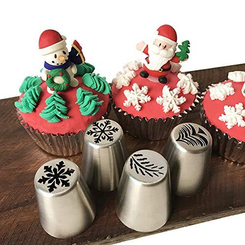 Spritztüllen für Weihnachtsgebäck, spezielle Spritztüllen, Edelstahl, russische Spritztüllen, Kuchendekorationswerkzeuge (1 Weihnachtsbaum, 2 Schneeflocken, 1 Blatt)