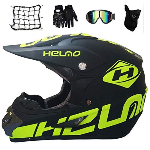 MRDEAR Motocross Casque BMX Adulte, Full Face Casque Off Road Bicyclette Kit avec Goggle Gants...