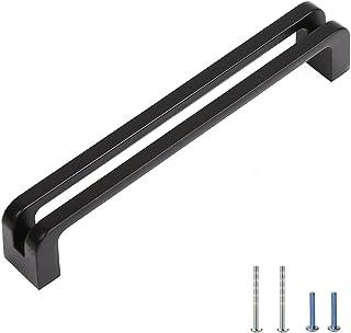 ALGOHOUSE Cabinet Drawer Pull Flat Black 5in(128mm) Hole Center homdiy Furniture Cupboard Hardware Metal Handles 15 Pack