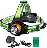 3 Modes LED Rechargeable Headlamp,12000 High Lumens Headlight,USB Rechargeable IPX-4 Headlamp With 18650 Button Top Battery,Prefect for Hunting,Hiking,Fishing,Running (yellow)
