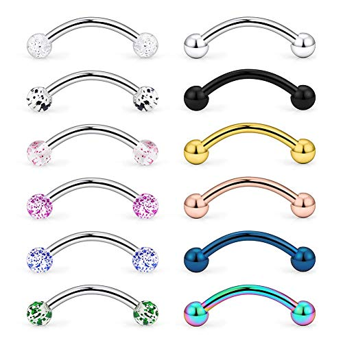 12PCS 14G(1.6mm) 16mm Length Curved Barbell Piercing Belly Bars Stainless Steel Snake Earrings Helix Cartilage Ear Piercing Bananabells Body Jewelry