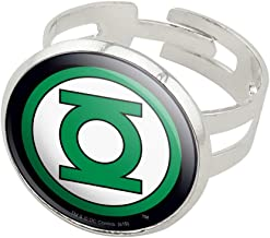 GRAPHICS & MORE Green Lantern Logo Silver Plated Adjustable Novelty Ring