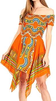 Sakkas TH356 - Femi Women s Casual Cocktail Off Shoulder Dashiki African Stretchy Dress - Orange - OS