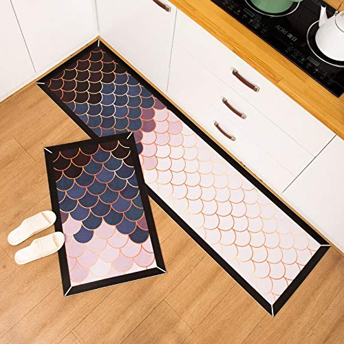 OPLJ Alfombra de cocina geométrica impermeable a prueba de aceite alfombra de cocina entrada de cuero alfombra antideslizante A1 40 x 120 cm