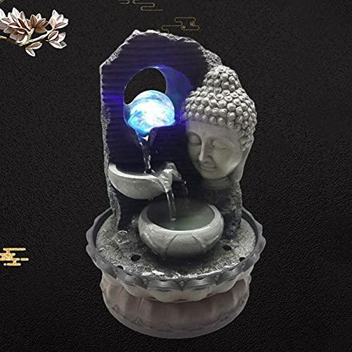 Buda de resina decorativa con forma de flor de loto, agua fluida, fuente de agua, fuente para habitación, hogar, oficina, buda, paisaje acuático, Feng Shui, con fuente LED de 4 colores (estilo 2)