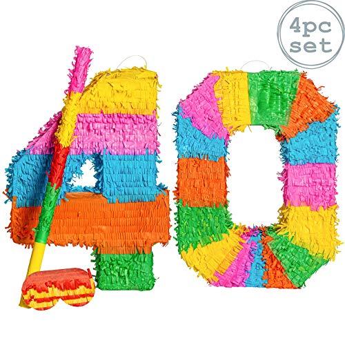 Fax Potato Pinata Set mit Stick & Blindfold - 40. Geburtstag/Jahrestag - Rainbow
