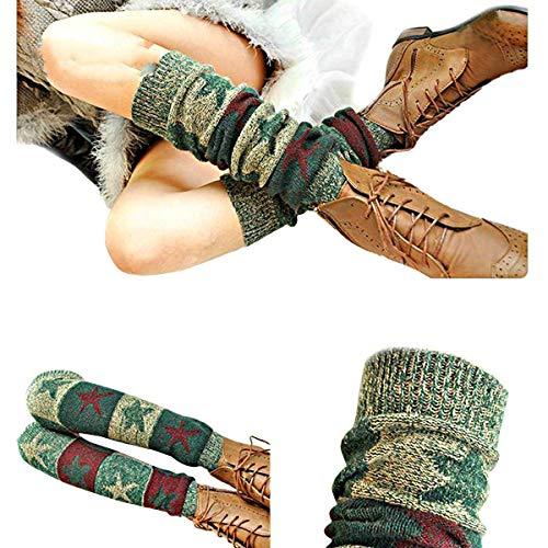 Butterme Scaldamuscoli Stella gedruckter Inverno Donna Boho strickte Crochet alti al ginocchio calze lunghe aufladungs polsino calzini grigio scuro grigio scuro taglia unica