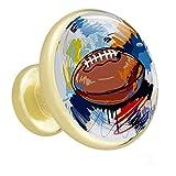 Rugby dessiné à la main or 4 boutons de meubles en métal et surface en verre tire pour commode armoire armoire porte tiroir poignées matériel de cuisine