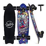 BELEEV Cruiser Skateboard, 68,5 x 20,3 cm, monopatín Completo para niños, Adolescentes y Adultos, 7 Capas de Arce Canadiense Double Kick Deck Concave Trick Skate Board (Blue)