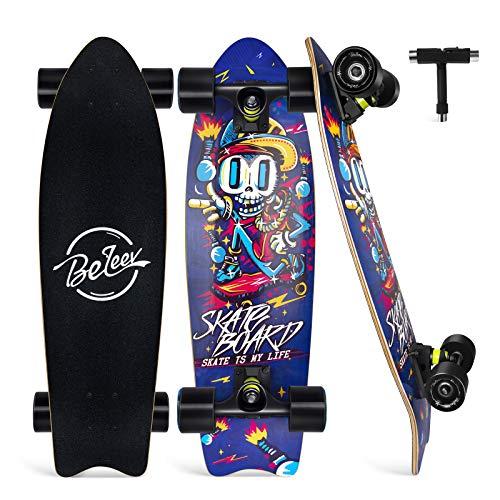 BELEEV Cruiser Skateboard 27x8 inch Completo Skateboard per Bambini, Giovani e Adulti, 7 Strati di Acero Canadese Double Kick Deck Concavo con all-in-One Skate T-Tool (Blu)